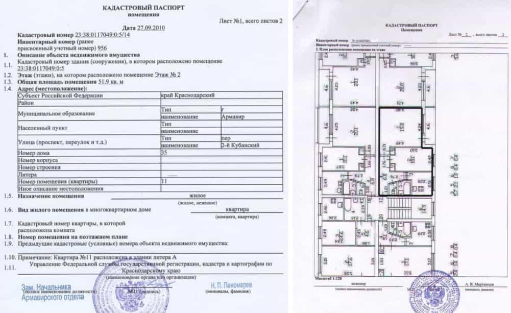 Образец кадастрового паспорта